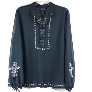Lane Bryant Embroidery Sheer Top